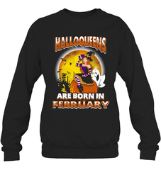 Halloqueens Are Born In February Heavy Blend Crewneck Sweatshirt / Black / S Shirts