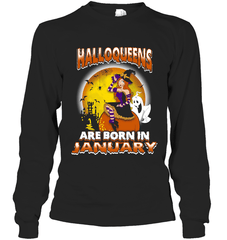 Halloqueens Are Born In January Gildan Long Sleeve T-Shirt / Black / S Shirts