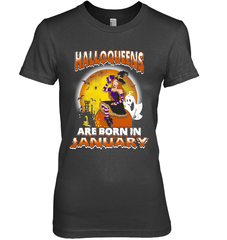 Halloqueens Are Born In January Next Level The Boyfriend Tee / Black / S Shirts
