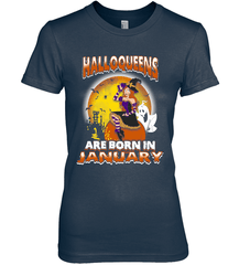 Halloqueens Are Born In January Next Level The Boyfriend Tee / Midnight Navy / S Shirts