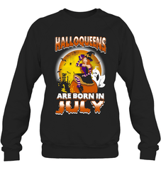 Halloqueens Are Born In July Heavy Blend Crewneck Sweatshirt / Black / S Shirts