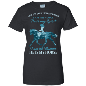 I Am His Human He Is My Horse G200L Gildan Ladies' 100% Cotton T-Shirt / Black / X-Small Apparel