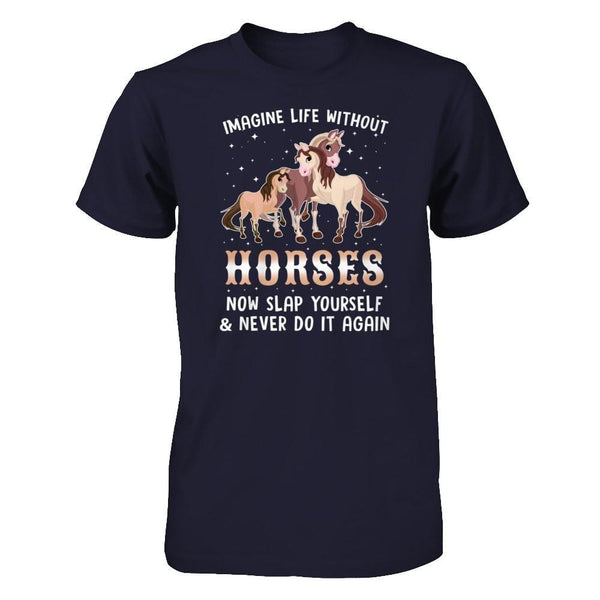 Life Without Horses Next Level - Unisex Fitted Tee / Midnight Navy / XS Shirts