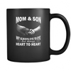 Mom and Son Heart To Heart Black Mug Mom and Son Heart To Heart Drinkware