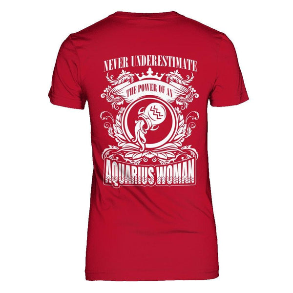 Never Underestimate Power of an Aquarius Woman Next Level - The Boyfriend Tee / Red / XS Shirts