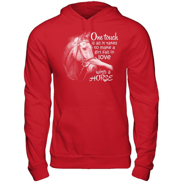 One Touch to Fall in Love With a Horse - Hoodie Red / S Shirts