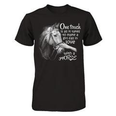 One Touch to Fall in Love With a Horse - Men Black / XS Shirts