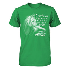 One Touch to Fall in Love With a Horse - Men Kelly Green / XS Shirts