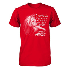 One Touch to Fall in Love With a Horse - Men Red / XS Shirts
