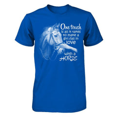 One Touch to Fall in Love With a Horse - Men Royal / XS Shirts