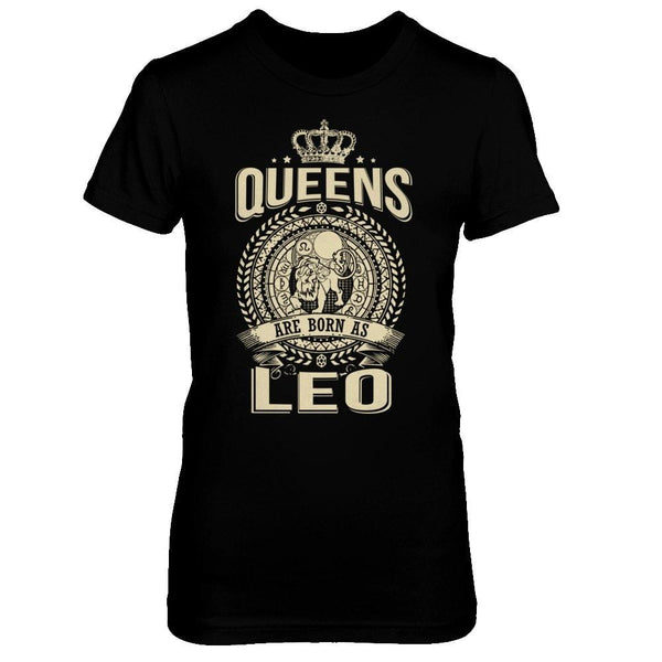 Queens are born as Leo Horoscope T-shirt Next Level - The Boyfriend Tee / Black / XS Shirts