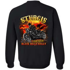 Sturgis 77th - On fire G180 Gildan Crewneck Pullover Sweatshirt  8 oz. / Black / Small Shirts