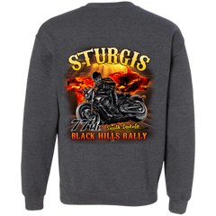 Sturgis 77th - On fire G180 Gildan Crewneck Pullover Sweatshirt  8 oz. / Dark Heather / Small Shirts