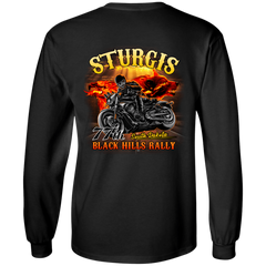 Sturgis 77th - On fire G240 Gildan LS Ultra Cotton T-Shirt / Black / Small Shirts