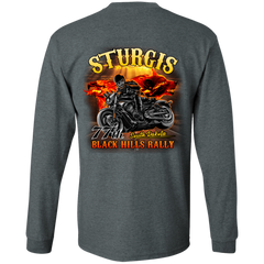 Sturgis 77th - On fire G240 Gildan LS Ultra Cotton T-Shirt / Dark Heather / Small Shirts