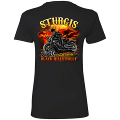 Sturgis 77th - On fire NL3900 Next Level Ladies' Boyfriend T-Shirt / Black / X-Small Shirts