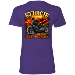Sturgis 77th - On fire NL3900 Next Level Ladies' Boyfriend T-Shirt / Purple / X-Small Shirts