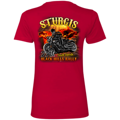 Sturgis 77th - On fire NL3900 Next Level Ladies' Boyfriend T-Shirt / Red / X-Small Shirts