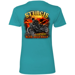 Sturgis 77th - On fire NL3900 Next Level Ladies' Boyfriend T-Shirt / Tahiti Blue / X-Small Shirts