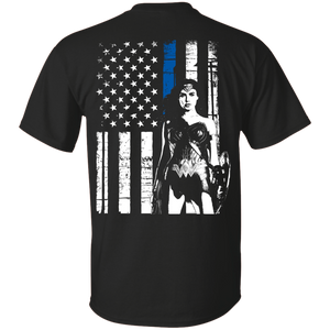 Wonder Woman - Thin Blue Line G200 Gildan Ultra Cotton T-Shirt / Black / Small Shirts