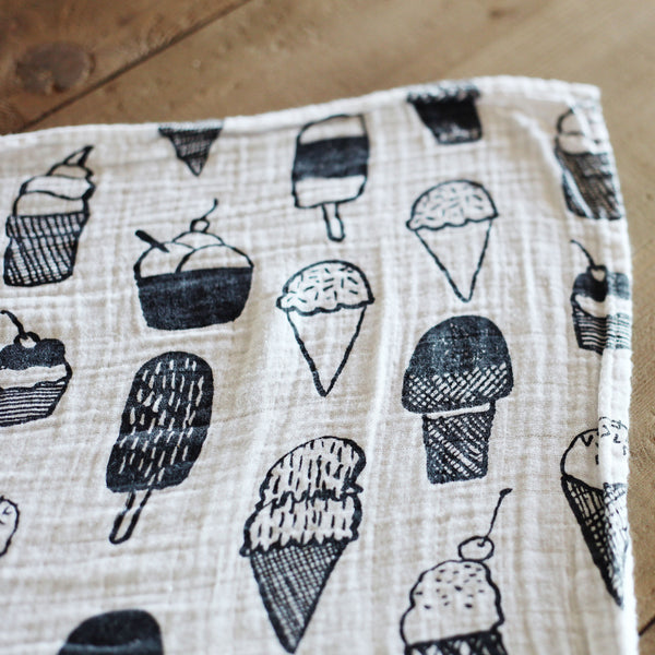 Organic Cotton Muslin Swaddle | Ice Cream Love