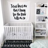 Organic Cotton Muslin Swaddle | Jesus Loves Me This I Know