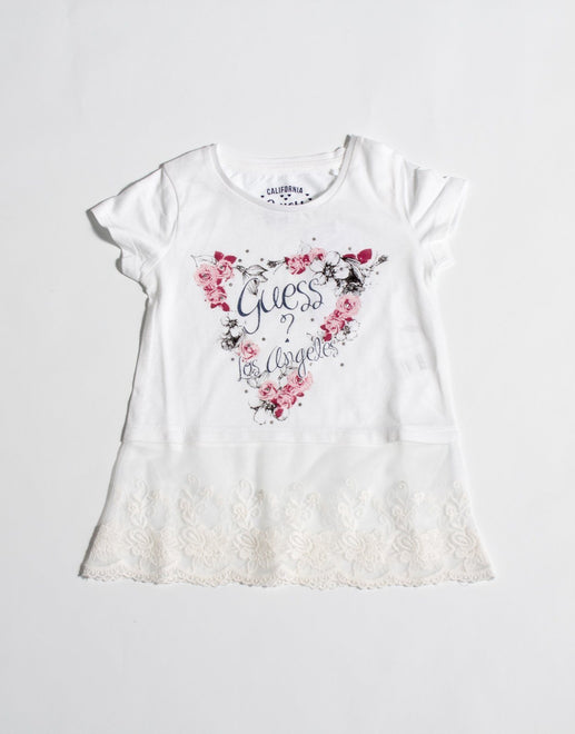 Guess Girls Lace Trim T-Shirt - Subwear