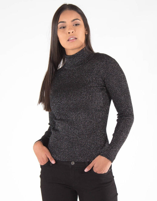 Sissy Boy Lurex Knit Polo Neck