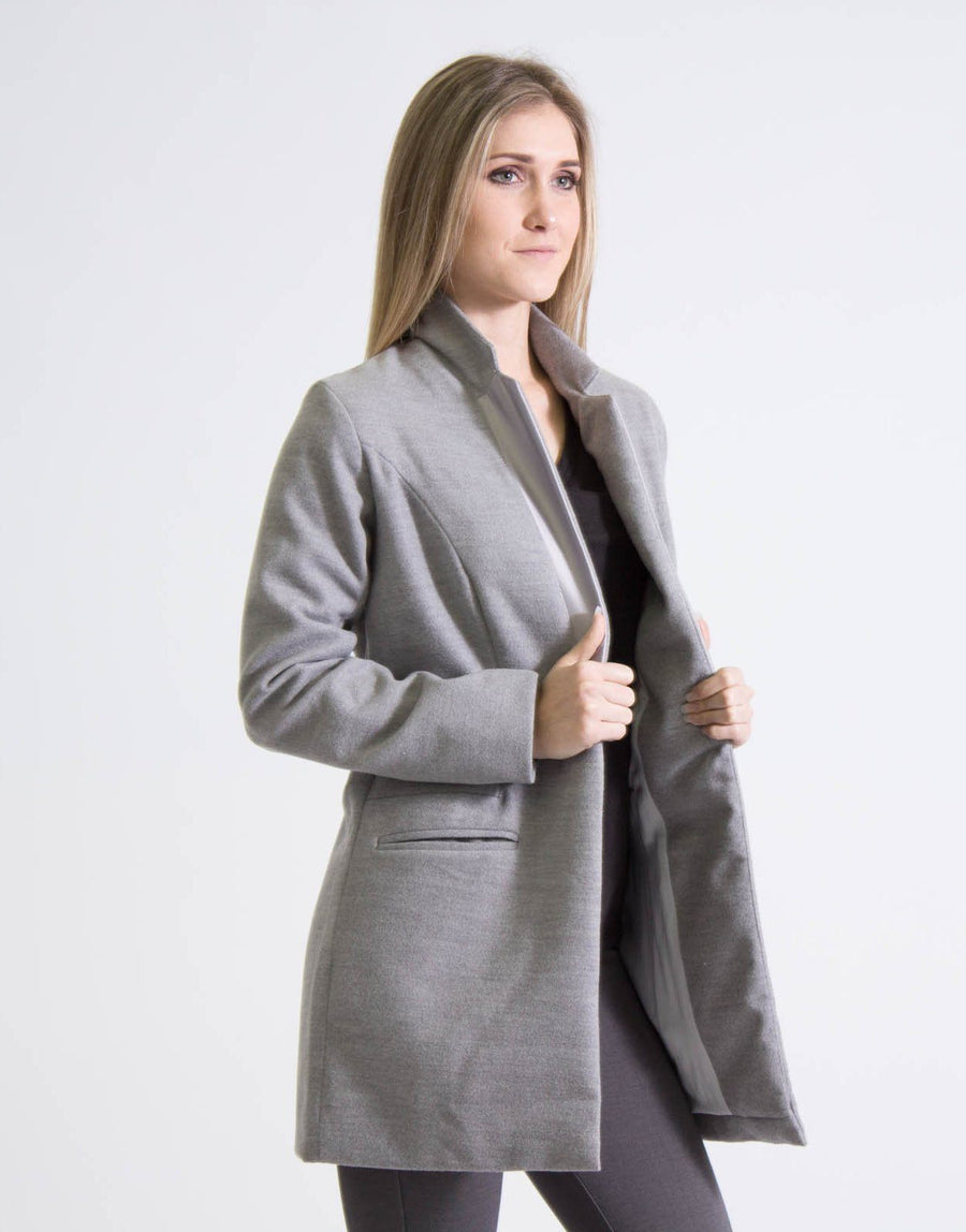 Envee Grey Melton Coat Jacket - Subwear