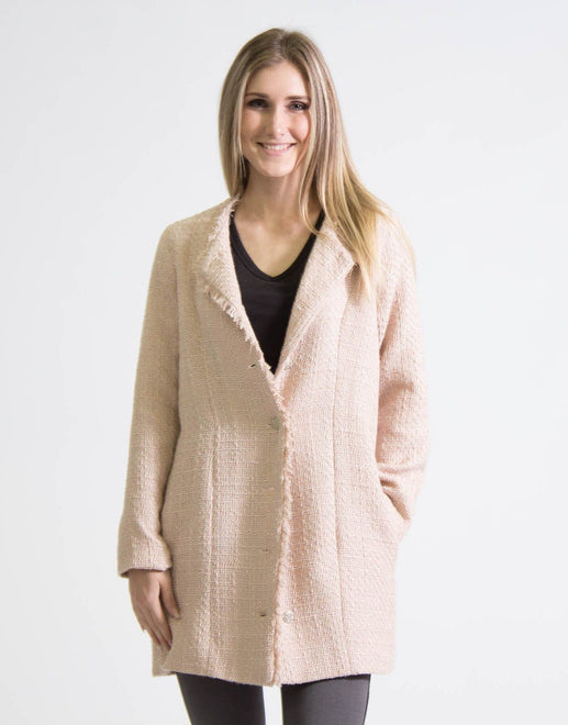 Envee Blush Tweed Coat Jacket - Subwear