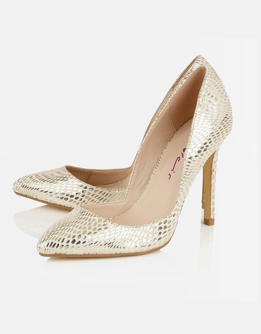 Dolcis Leticia Pointed Toe Gold Snake Shoe - Subwear