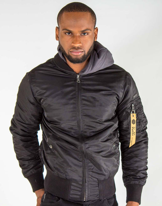 Vialli Black Bomber Jacket