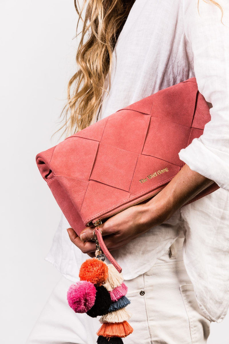 The Wolf Gang Tejer Woven Clutch // Rose