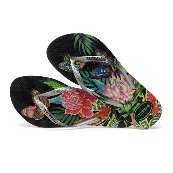 b65415d01ad Havaianas flip flop - Ladies Slim Tropical - Black graphite