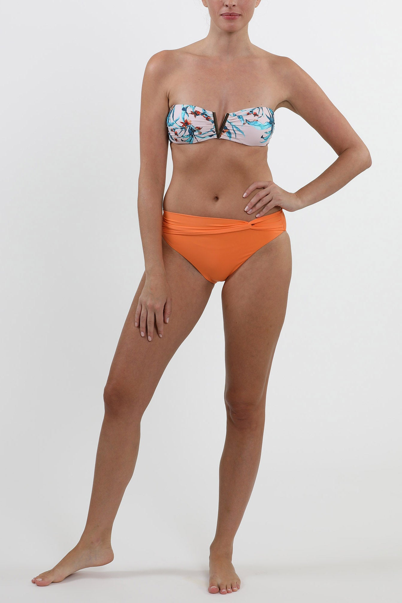 MALDIVES - Twist front detail swimwear bikini bottom - Tangerine Orange