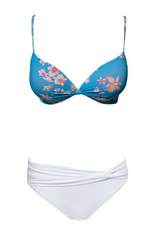 S1 Lanzarote Push-Up Top - Watercolour bloom & Maldives twist front bottom - pure white swimwear bikini set