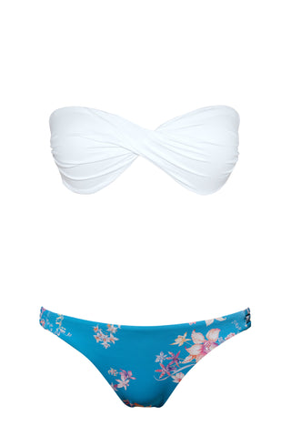 S2 Maya Bandeau Top - pure white & Tuscany 3-string bottom - Watercolour bloom swimwear bikini set