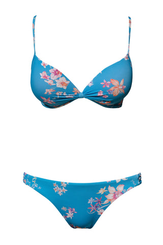 S3 Lanzarote Push-Up Top - Watercolour bloom & Tuscany 3-string bottom - watercolour bloom swimwear bikini set