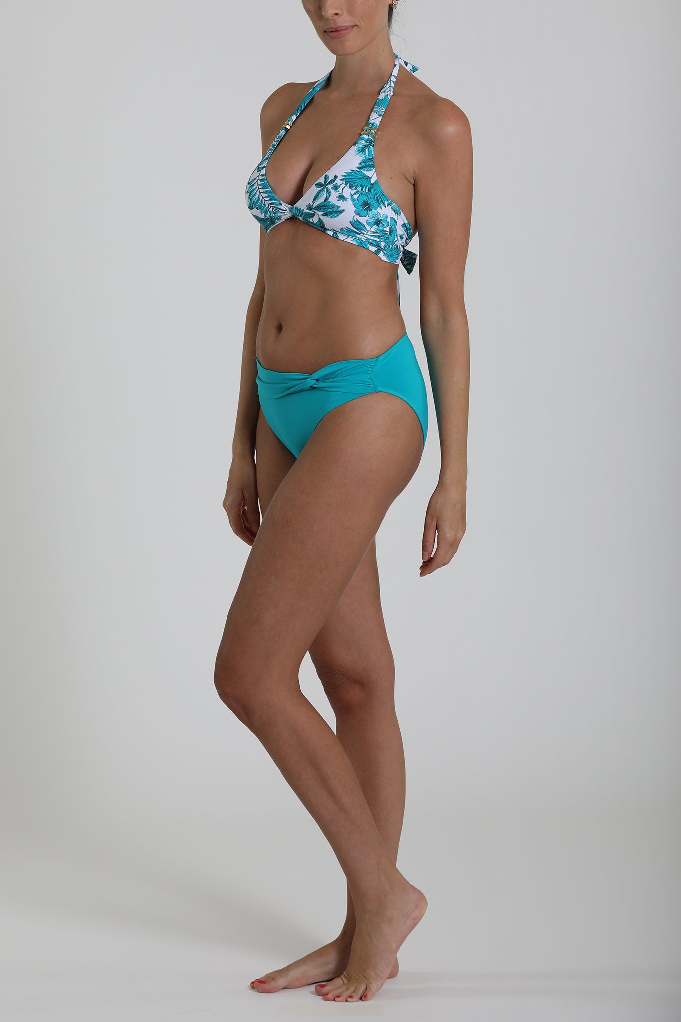 MALDIVES - Twist front detail swimwear bikini bottom - Turquoise