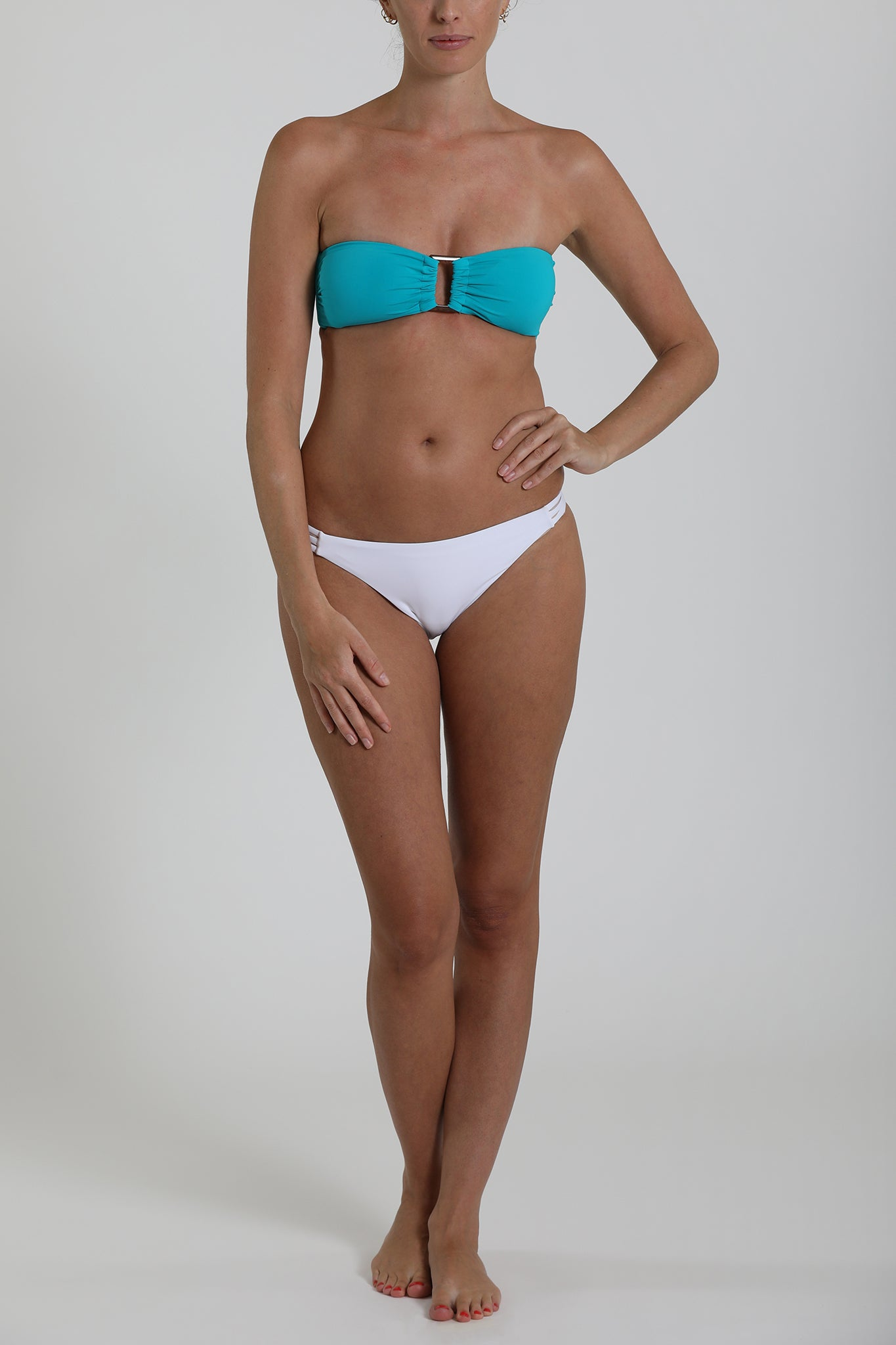 S6 Tobago Bandeau Top - turquoise & Tuscany 3-string bottom - pure white swimwear bikini set