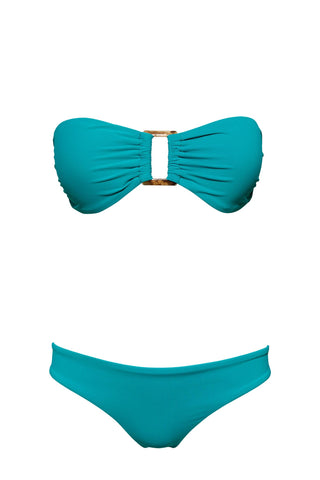 S9 Tobago Bandeau Top - Turquoise & St Barth basic bottom - turquoise swimwear bikini set