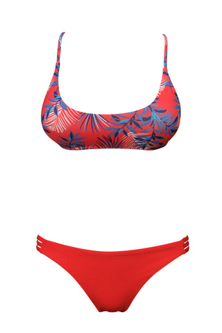 S12 Bahamas Bralette - Palm Leaves & Tuscany 3-string bottom - red swimwear bikini set