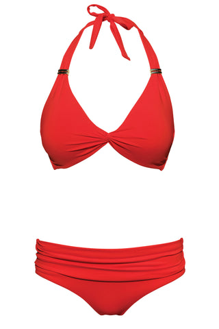 S17 St Barth Neckholder Top - Red & Miami fold-over bottom - red swimwear bikini set