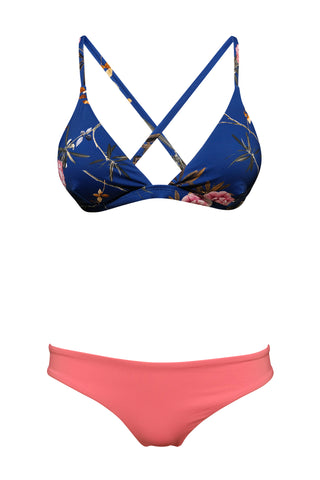 S19 Tenerife Triangle Bikini Top - Japanese Tree & St Barths basic bottom - calypso coral swimwear bikini set