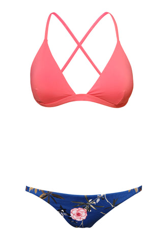 S20 Nissi Triangle Bikini Top - Calypso Coral & Cape Town bottom - Japanese tree swimwear bikini set