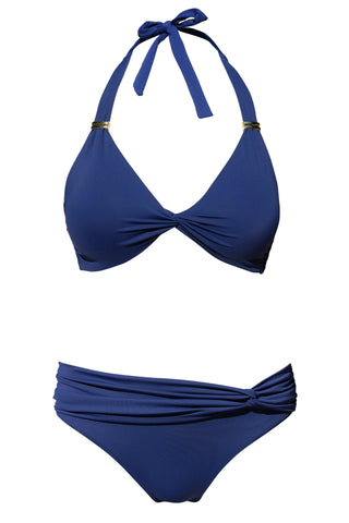 S24 St Barth Neckholder Top - Navy & Maldives twist front bottom - Navy swimwear bikini set