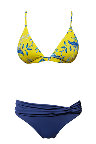 S25 Tenerife Top - Porcelaine Tropic & Maldives twist front bottom - Navy swimwear bikini set