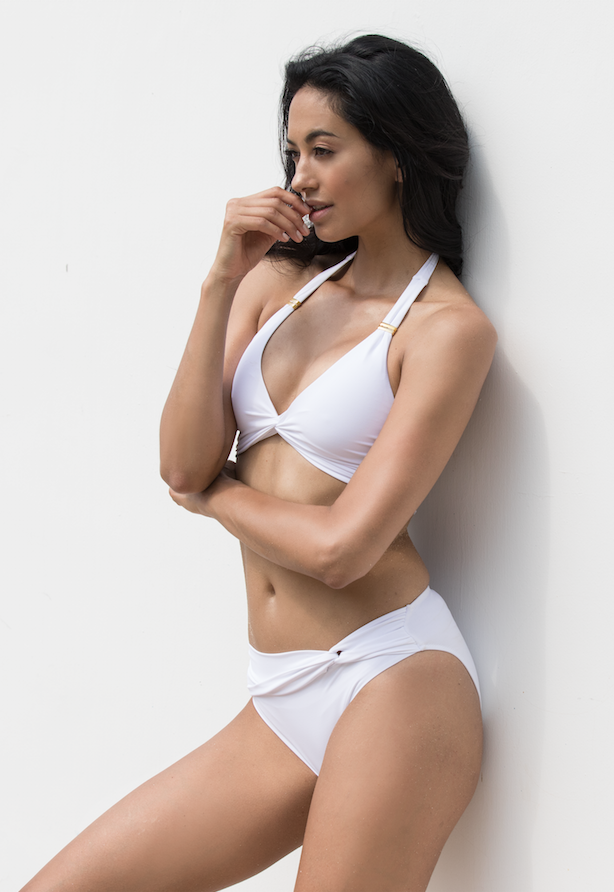 MALDIVES - Twist front detail swimwear bikini bottom - Pure White