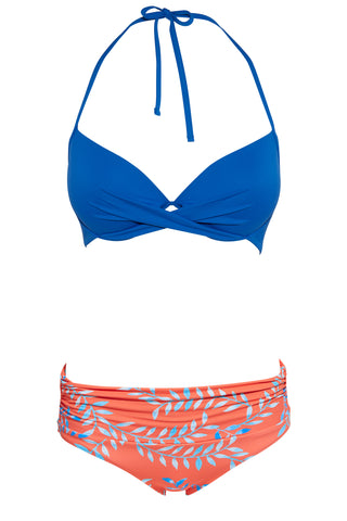 Set 38 Rimini Push Up Top - Vivid Palms and Maya basic bottom - berry swimwear bikini set