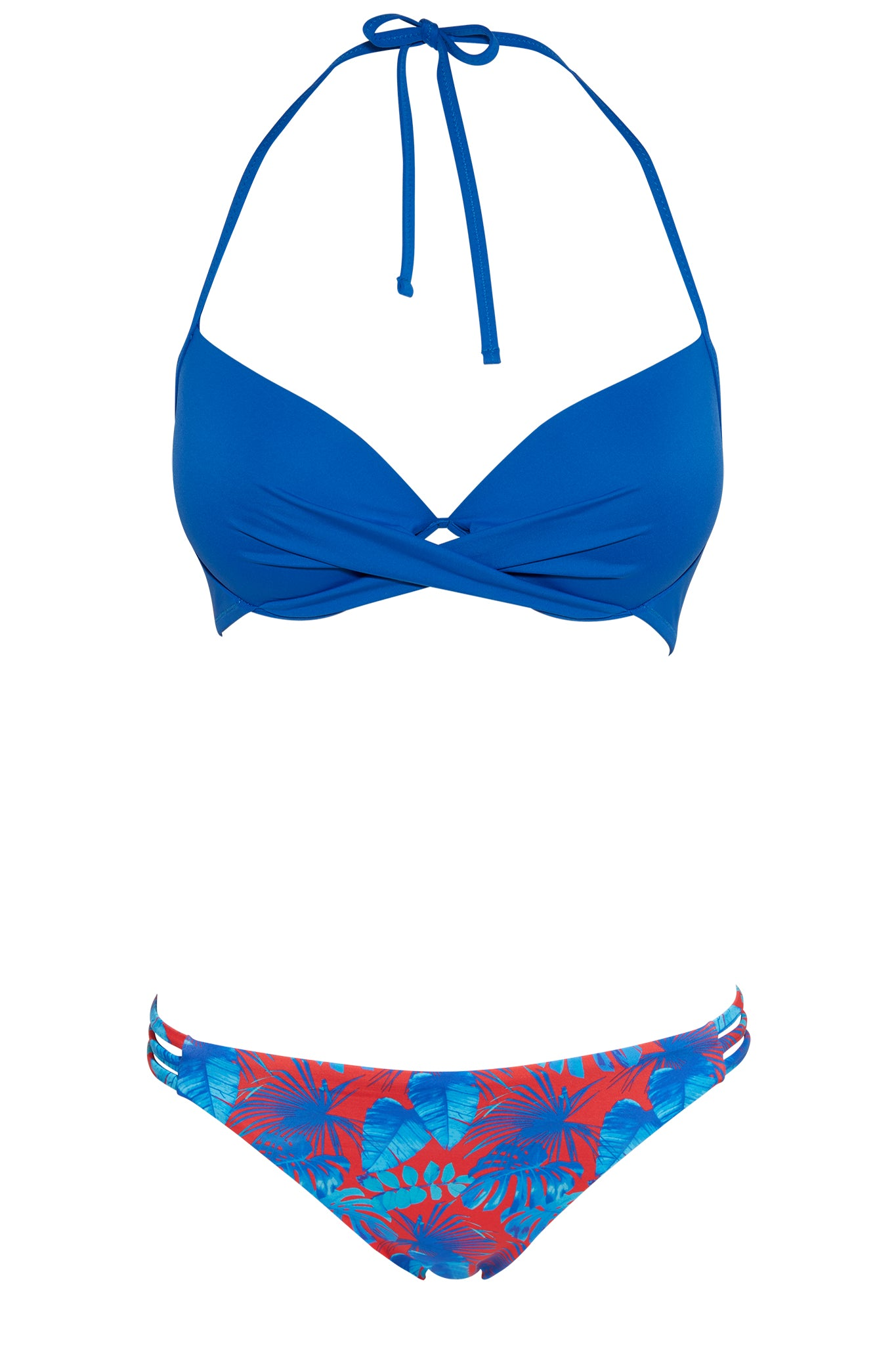 Set 29 Manu push up top bikini - royal blue and Tuscany 3-string bottom - exotic vibes swimwear bikini set